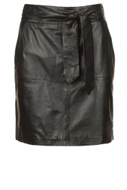 Ibana |  Leather skirt with bow tie Sam | black  | Picture 1