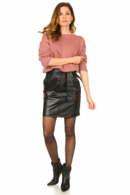 Ibana |  Leather skirt with bow tie Sam | black  | Picture 3
