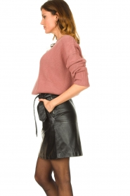 Ibana |  Leather skirt with bow tie Sam | black  | Picture 5