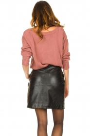 Ibana |  Leather skirt with bow tie Sam | black  | Picture 6