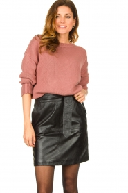 Ibana |  Leather skirt with bow tie Sam | black  | Picture 4