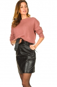 Ibana |  Leather skirt with bow tie Sam | black  | Picture 2