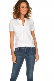 Be Pure |  Cotton polo T-shirt Merel | white  | Picture 2