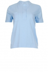 Be Pure |  Cotton polo T-shirt Merel | blue  | Picture 1