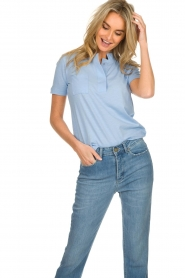 Be Pure |  Cotton polo T-shirt Merel | blue  | Picture 2