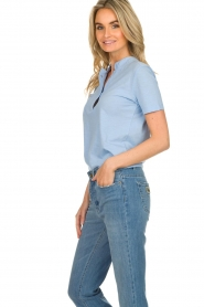 Be Pure |  Cotton polo T-shirt Merel | blue  | Picture 4
