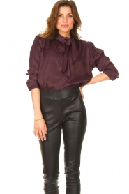 Ibana    Blouse with pussy bow Toline   red wine    Picture 2