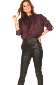 Ibana    Blouse with pussy bow Toline   red wine    Picture 4