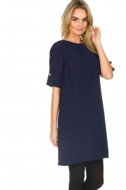 Atos Lombardini |  Straight loose fit dress Manou | blue  | Picture 4