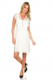 Atos Lombardini |  Dress with ruffles Angelina | white  | Picture 3
