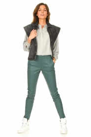 Ibana |  Stretch leather pants Colette | green  | Picture 3