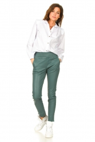 Ibana |  Stretch leather pants Colette | green  | Picture 4