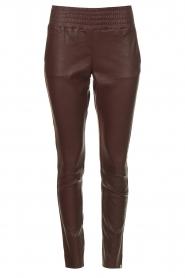 Ibana |  Stretch leather pants Colette | bordeaux  | Picture 1