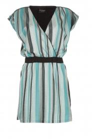 Atos Lombardini | Gestreepte jurk met glitters Fenna | blauw  | Afbeelding 1