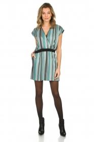 Atos Lombardini | Gestreepte jurk met glitters Fenna | blauw  | Afbeelding 3