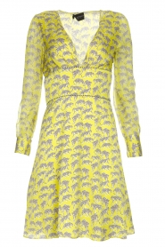 Atos Lombardini |  Printed dress with leopards Gabriella | yellow  | Picture 1
