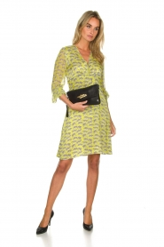 Atos Lombardini |  Printed dress with leopards Gabriella | yellow  | Picture 3