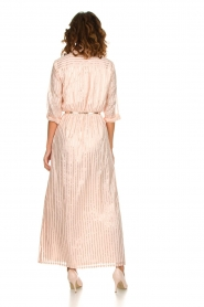Atos Lombardini |  Maxi dress with glitter stripes Nadina | nude  | Picture 5