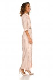 Atos Lombardini |  Maxi dress with glitter stripes Nadina | nude  | Picture 4