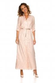 Atos Lombardini |  Maxi dress with glitter stripes Nadina | nude  | Picture 3