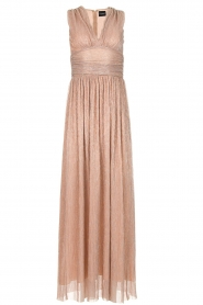 Atos Lombardini |  Maxi dress with lurex Isabelle | nude  | Picture 1