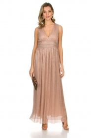 Atos Lombardini |  Maxi dress with lurex Isabelle | nude  | Picture 2