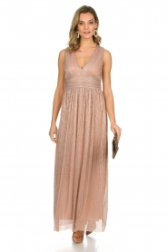 Atos Lombardini |  Maxi dress with lurex Isabelle | nude  | Picture 3