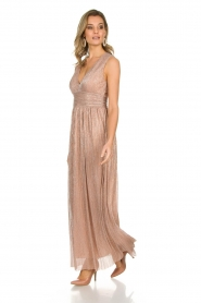 Atos Lombardini |  Maxi dress with lurex Isabelle | nude  | Picture 4