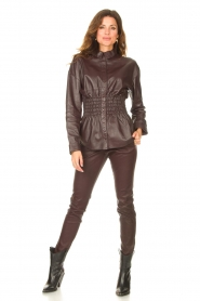 Ibana |  Leather blouse with smocked waist Tally | bordeaux  | Picture 3