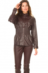 Ibana |  Leather blouse with smocked waist Tally | bordeaux  | Picture 2