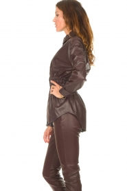 Ibana |  Leather blouse with smocked waist Tally | bordeaux  | Picture 5