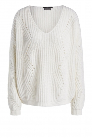 Set |  Knitted V-neck sweater Vinnie | white  | Picture 1