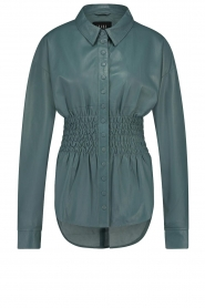 Ibana    Leather blouse with smocked waist Tally   green    Picture 1