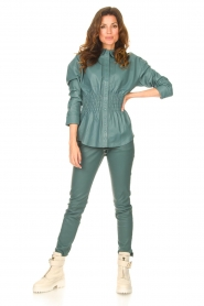 Ibana    Leather blouse with smocked waist Tally   green    Picture 3