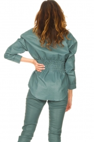 Ibana    Leather blouse with smocked waist Tally   green    Picture 7