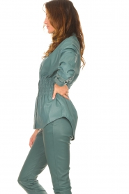 Ibana    Leather blouse with smocked waist Tally   green    Picture 6