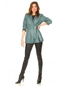 Ibana |  Leather blazer with tie waist belt Joly | blue  | Picture 3