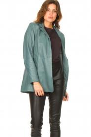 Ibana |  Leather blazer with tie waist belt Joly | blue  | Picture 4