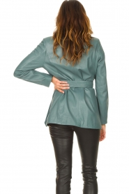 Ibana |  Leather blazer with tie waist belt Joly | blue  | Picture 6