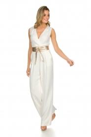 Atos Lombardini |  Classic flared jumpsuit Kristie | white  | Picture 2