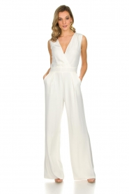 Atos Lombardini |  Classic flared jumpsuit Kristie | white  | Picture 6