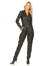 Ibana |  Leather jumpsuit Odel | black  | Picture 2