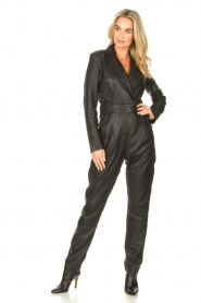 Ibana |  Leather jumpsuit Odel | black  | Picture 4