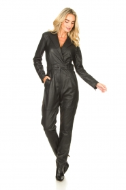 Ibana |  Leather jumpsuit Odel | black  | Picture 3