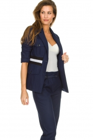 Atos Lombardini |  Military jacket with striped detail Clarke | blue  | Picture 4