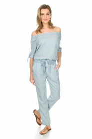 Aaiko : Off-shoulder jumpsuit Triby | blauw - img2