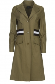 Atos Lombardini |  Trench coat with striped detail Olivia | green  | Picture 1