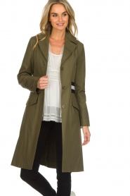 Atos Lombardini    Trench coat with striped detail Olivia   green    Picture 2