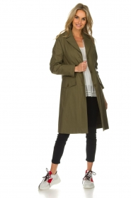 Atos Lombardini    Trench coat with striped detail Olivia   green    Picture 3