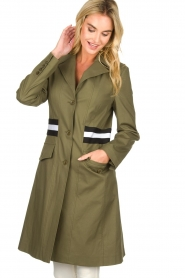 Atos Lombardini |  Trench coat with striped detail Olivia | green  | Picture 2
